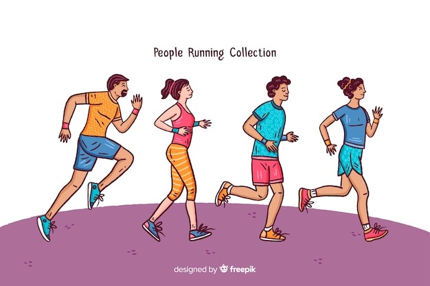People character doing sport collection