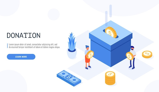 People character donate money for charity in isometric style