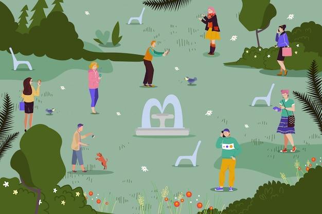人々のキャラクターは公園、イラストでスマートフォンを保持します。若いフラット女性男性のライフスタイル、オンラインのソーシャルメディア