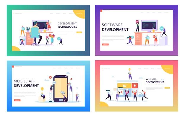 Персонаж людей делает целевую страницу разработки программного обеспечения.