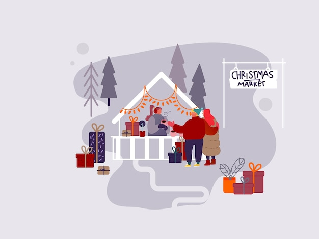 People character shopping on christmas market or holiday outdoor fair on town square, new year party.  man and woman buying presents and gifts, drinking hot coffee. vector design illustration