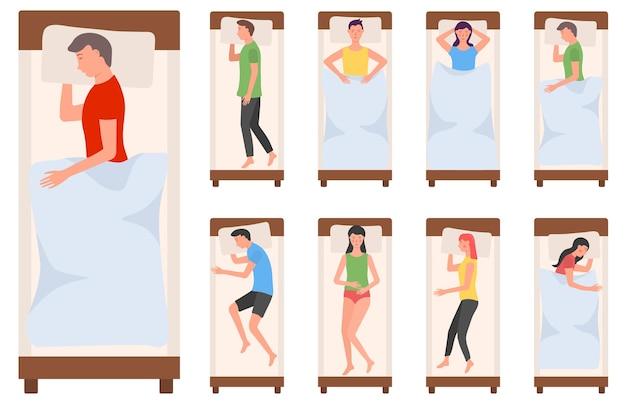 침대에서 자고있는 인물 캐릭터 여자 남자는 다른 포즈로 자고 피곤한 누워있는 사람