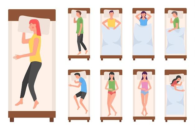 ベッドで寝ている人のキャラクター女性男性はさまざまなポーズで寝ている疲れた嘘つきの人を寝ている