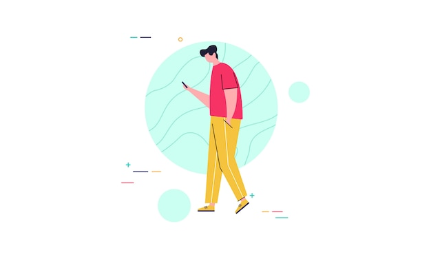 People character surrounded with gadgets flat design concept illustration
