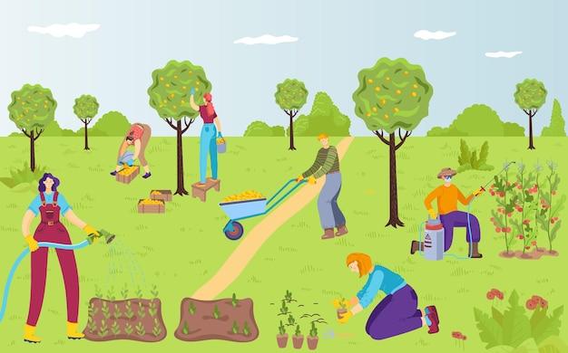 사람들은 함께 야외 정원 가꾸기, 여성 급수 식물 캐릭터