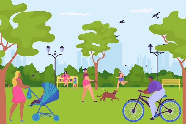 People character together spend time in parkland ride bike walk dog and jogging outdoor human stroll...