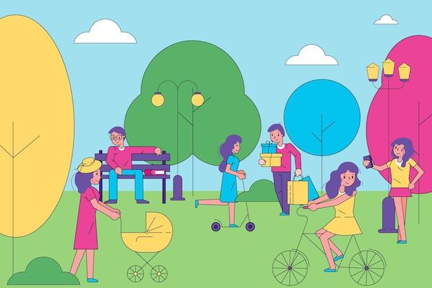 人々のキャラクターが一緒に人間の散歩の都市公園グループを歩きます都市の庭陽気な時間は私を過ごします...