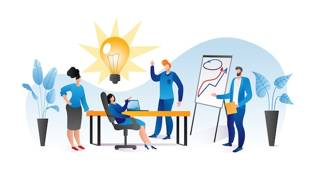 그룹 회의에서 사람들 캐릭터 작업