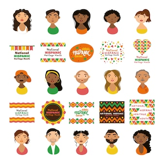 Люди персонажей и надписи национального латиноамериканского наследия в плоском стиле