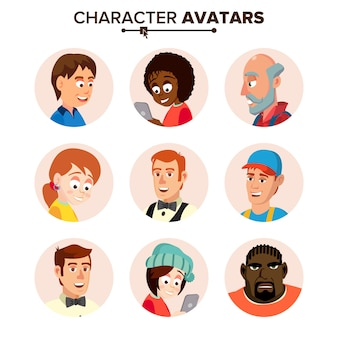 People characters avatars set.