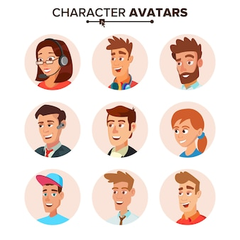 People characters avatars set.