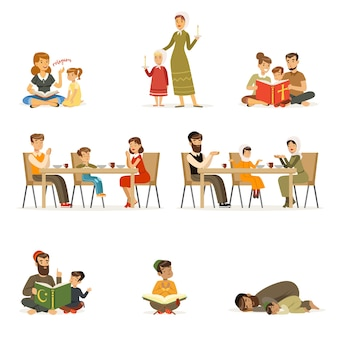People characters of different religions set. families in national costumes that pray, read holy books, teaching children, dinner. jews, catholics, muslims religious activities.  cartoon