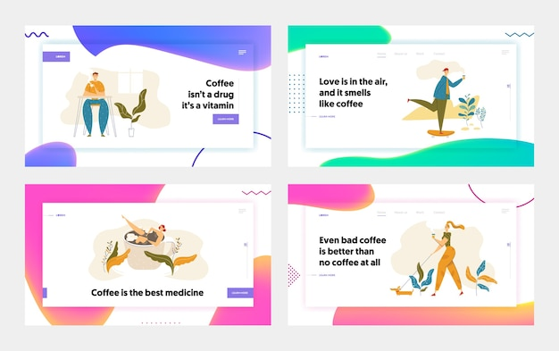People characters drinking coffee landing page set. man skateboarding with cup of tea. woman walking with dog and hot drink. guy on coffee break website, banner.