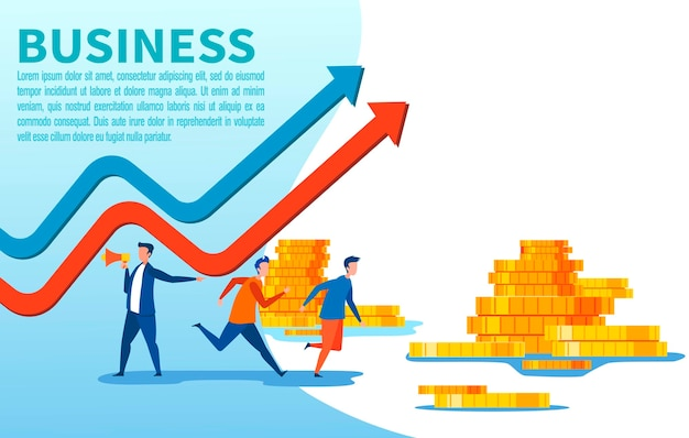 People characters and gold coins business banner