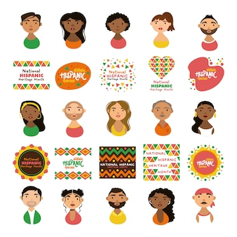 People characters and national hispanic heritage letterings flat style