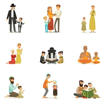 다른 종교의 사람들이 문자를 설정합니다. 종교 활동. 기도하고, 거룩한 책을 읽고, 휴일을 축하하는 민족 의상을 입은 가족. 유대인, 천주교도, 무슬림, 불교도. .