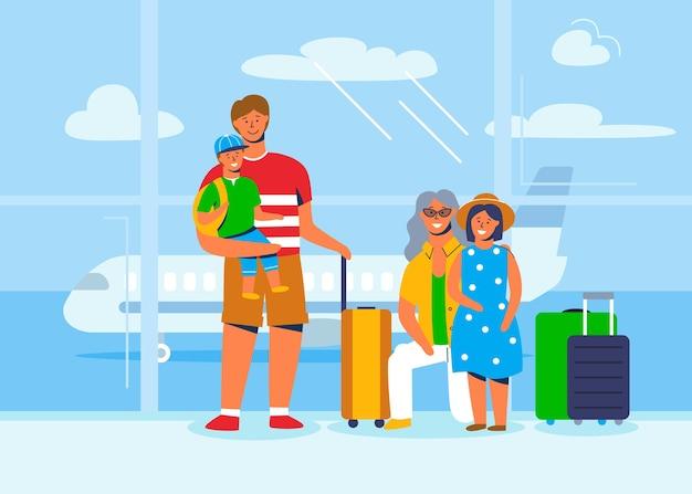 家族旅行の人々のキャラクター。飛行機に搭乗するのを待っている空港ターミナルで荷物を持って座っている父、母、息子と娘。スーツケースを持った観光客。