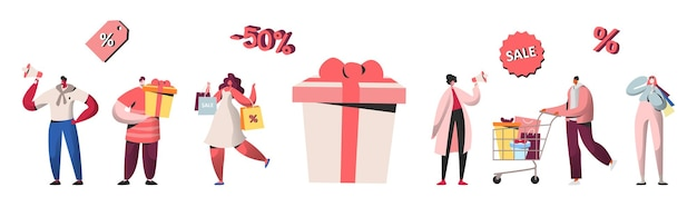 People characters shopping on sale, discount, buying gifts and presents. online shopping, mobile marketing and purchase concept, e-commerce. vector illustration