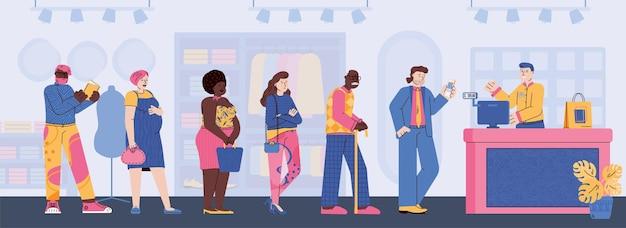 Люди персонажей, стоящих в очереди к кассиру, плоская мультяшная векторная иллюстрация