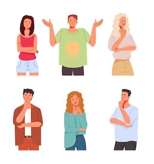 Люди персонажи думают в разном положении изолированной коллекции наборов.