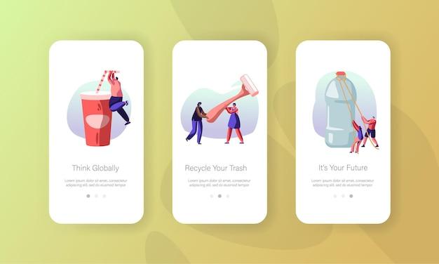 Люди-персонажи используют набор экранов мобильного приложения для пластиковой упаковки.