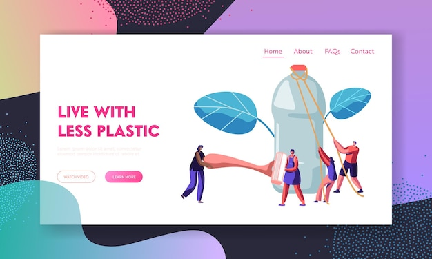 People characters use plastic packaging for usual life. website landing page template