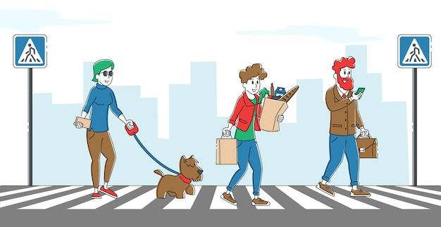 タウンストリート交差点を歩く人々のキャラクター