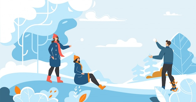 People characters and winter outdoors activities