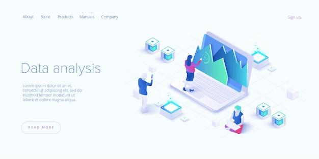 Люди-персонажи, работающие с визуализацией данных. мужчина и женщина анализируют таблицы, диаграммы и графики в business dashboard