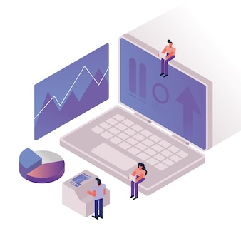 People and charts with laptop vector illustration design