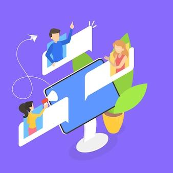 Люди болтают на форуме в интернет-концепции. онлайн-общение с другом. социальная связь. делитесь мнением с группой людей. изометрическая иллюстрация