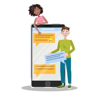 Люди общаются с помощью мобильного телефона и социальной сети