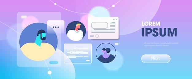 コンピューターアプリ通信ダイアログ会話オンラインフォーラムの概念でおしゃべりする人々横向きの肖像画コピースペースベクトル図