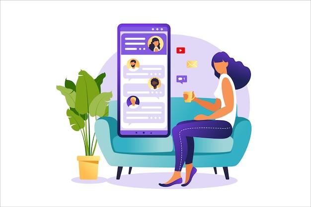 スマホ画面でおしゃべりする人、仮想関係イラストコンセプト。出会い系アプリやチャットのコンセプト。