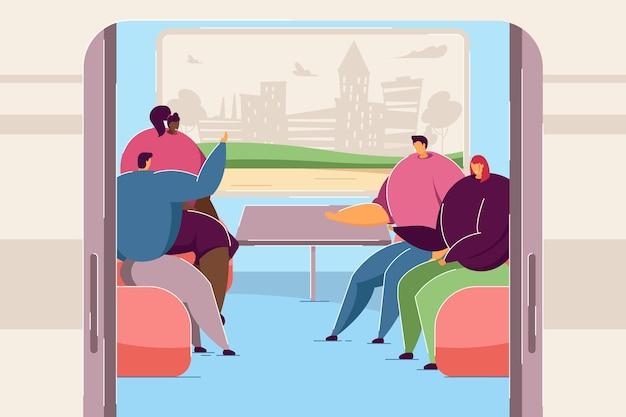 기차에서 채팅하는 사람들. 함께 여행하는 만화 남자와 여자, 창 평면 벡터 삽화에서 도시의 실루엣. 배너, 웹 사이트 디자인 또는 방문 웹 페이지에 대한 철도 여행 개념