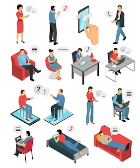People chatting isometric characters set