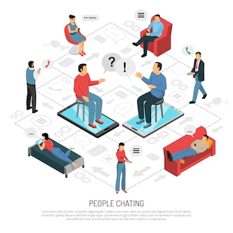 People chatting isometric flowchart