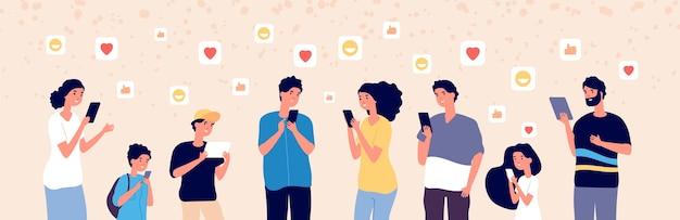 オンラインでチャットしている人。ソーシャルメディアでガジェットを使用する大人と子供は、常にフォロワーを追加します。インターネット中毒の概念。イラストオンライン女性、男性、子供とデバイス