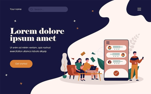 People chatting online. using gadgets, phone screen with messenger interface flat vector illustration. communication, technology concept for banner, website design or landing web page
