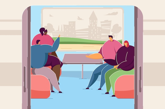 People chatting in train car. cartoon men and women on trip together, silhouette of city in window flat vector illustration. railway journey concept for banner, website design or landing web page