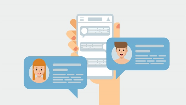 메신저를 통해 채팅하는 사람들. 손에있는 스마트 폰, 모바일