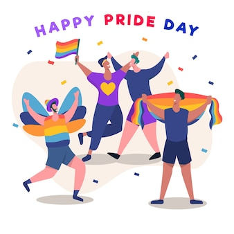 People cheering on pride day