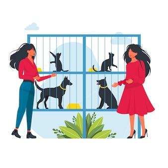 人々は避難所で動物を選びます。ペットシェルターから動物を養子にする人々。ペットシェルターまたは動物店のベクトルイラスト。ペットの養子縁組のために動物保護施設を訪れる人々。犬と猫。