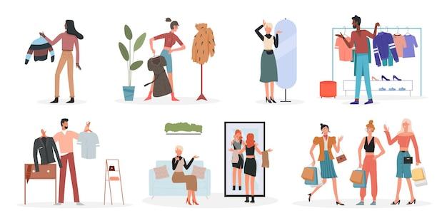 人々は家庭でファッショナブルな服を選ぶファッションショップの男性女性はハンガーを持っています