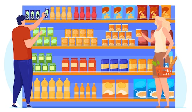 People choose goods near the shelves with products. vector illustration