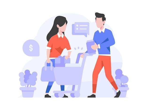 Люди выбирают положить товары в корзину купить продукт онлайн концепция плоский дизайн иллюстрации
