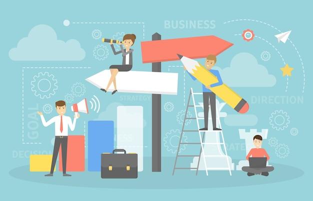 사업 방향을 선택하는 사람들. 전략과 목표에 대한 아이디어. 어려운 선택 만들기. 플랫 벡터 일러스트 레이션