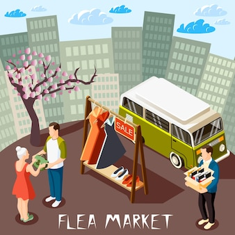 Persone che scelgono merci al mercato delle pulci sul paesaggio urbano