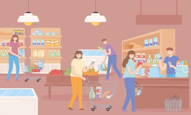식료품을 선택하는 사람들
