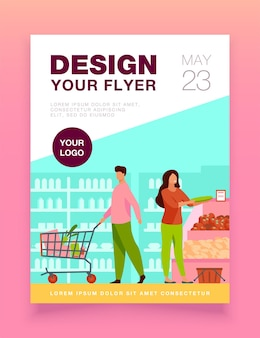 People choosing products in grocery store flyer template